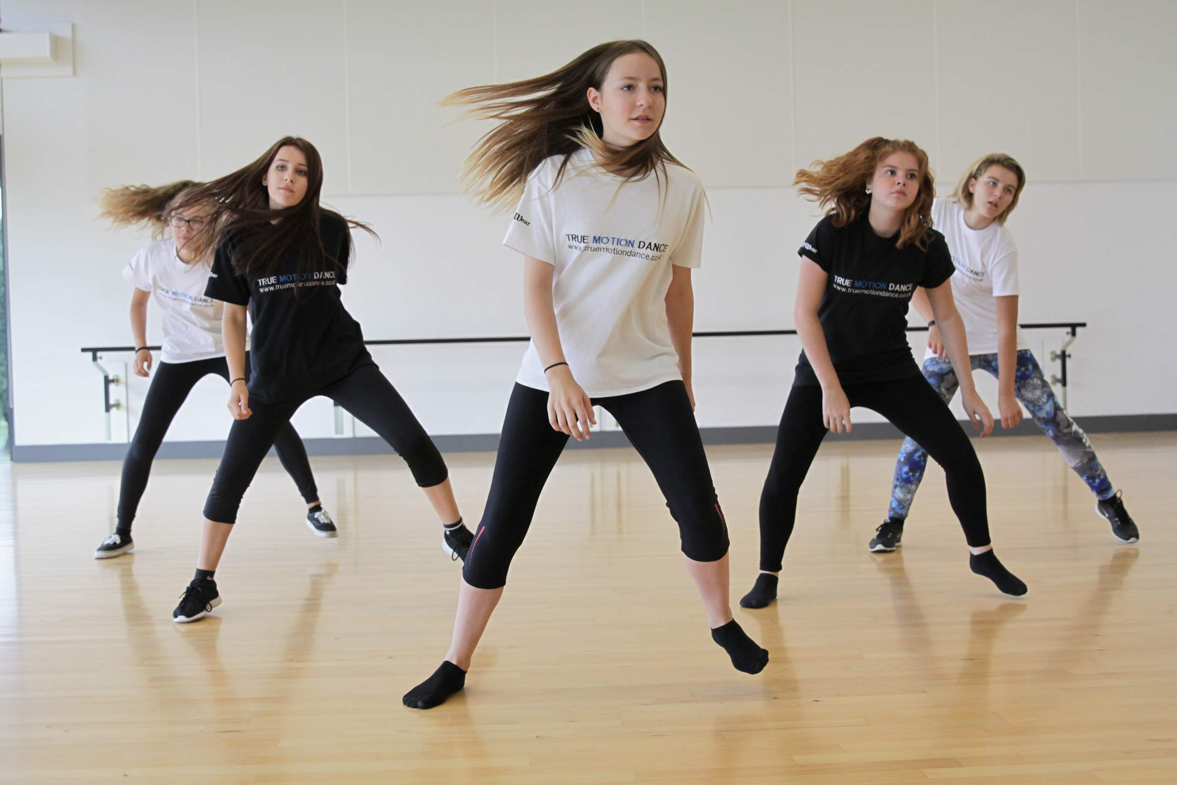 Girls dancing in class as part of Elite Youth Dance Company