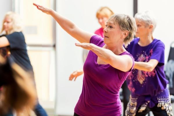 Senior ladies taking dance fitness lessons